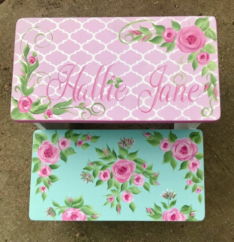handpainted pink and teal bathroom stool Vintage watercolor roses benches childs wooden stool Nursery decor, personalized gifts