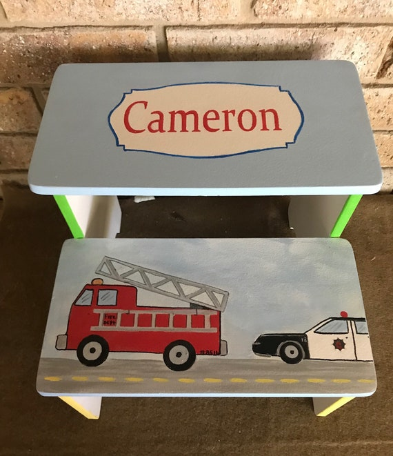 Strange Cars Firetrucks Police Car Train Semi Truck Boys Wooden Stool Nursery Stool Personalized Ts Benches Time Out Bathroom Stool Machost Co Dining Chair Design Ideas Machostcouk