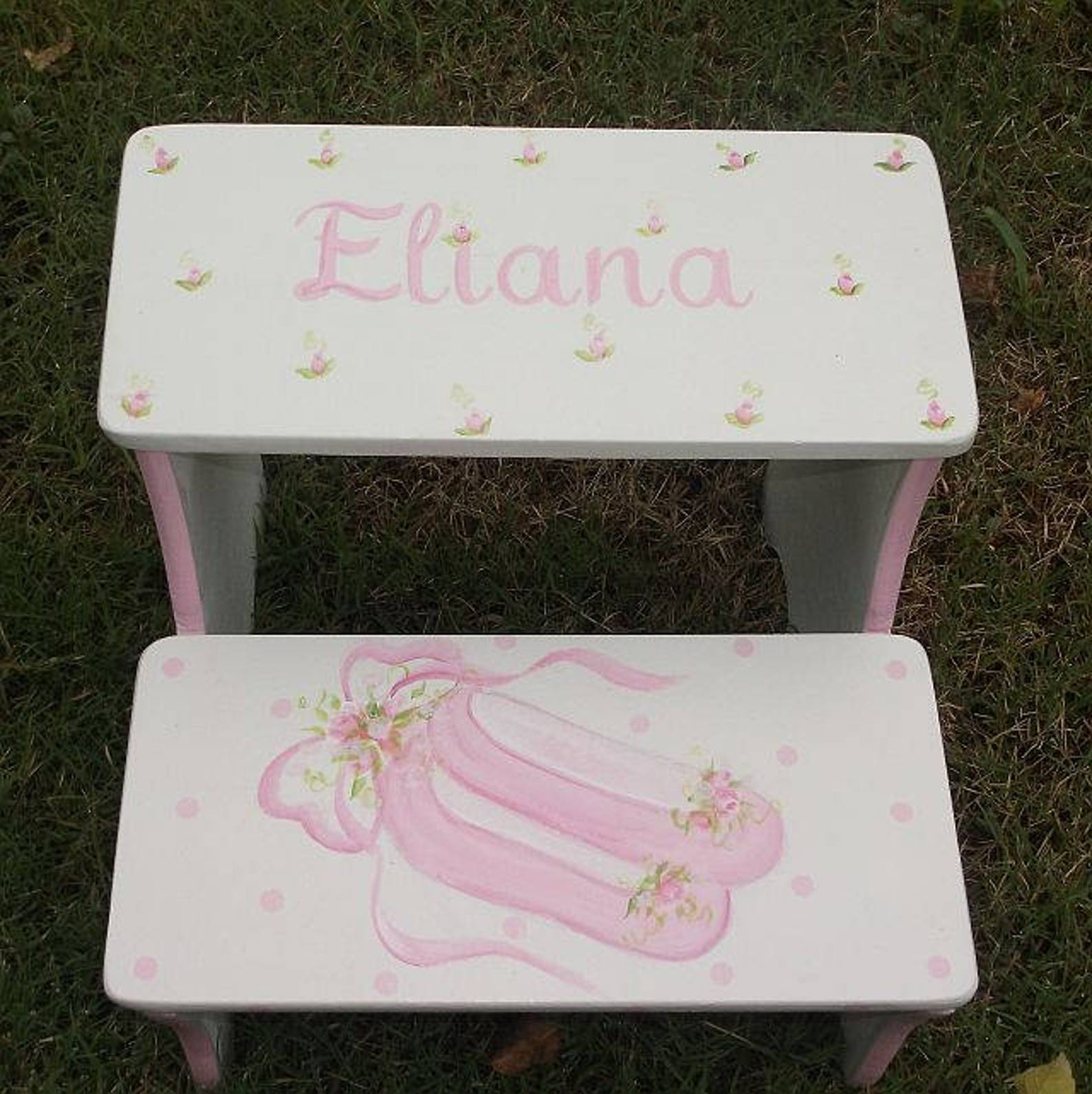 custom, pink, ballet, ballerina shoes, childs step stool, benches, bathroom stool, personalized gifts