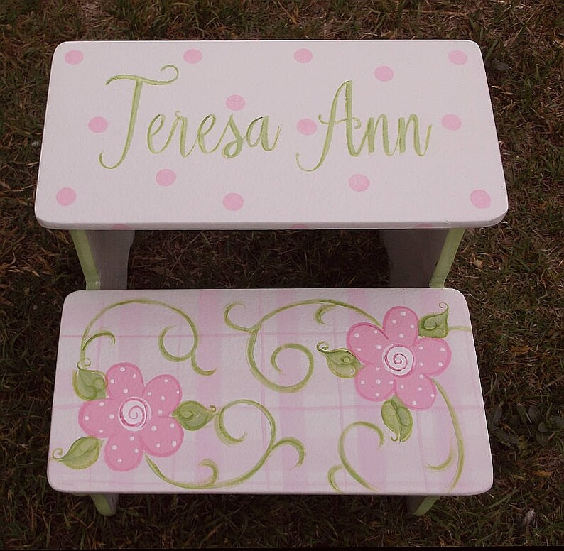 Superb Personalized Toddler Step Stool Lavender Pinks Purple White Nursery Benches Bathroom Stool Daisy Flowers Girls Stool Baby Nursery Ibusinesslaw Wood Chair Design Ideas Ibusinesslaworg