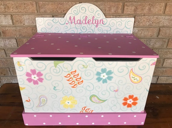 Paisley Toy Boxes And Benches Toddler Kids Childrens Toy Etsy