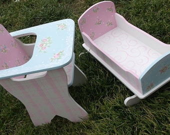 """Doll Bed, Cradle, High Chair, Shabby Roses, Pretend Play, Baby Doll Furniture, Toys, Dolls, 18""""dolls"""