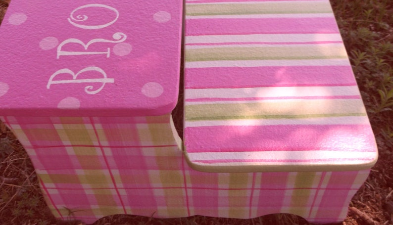 Bathroom Stool Stepstool Wooden Custom Steps Stools BENCH,Kids Stools Any Color Personalized FREE Hot Pink