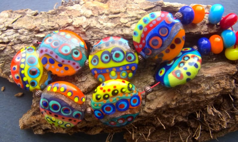 Count the dots by Anne Schelling Handmade Lampwork Bead Set 17 SRA