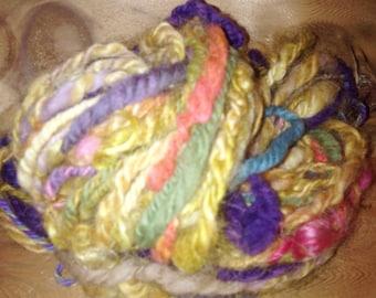 Handspun Merino, Alpaca, Silk and Glitz Yarn: Cunning Katherine