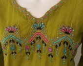 Vintage India Lime Embroi...