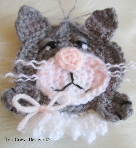 Crochet Pattern Cat Applique Embellishment By Teri Crews Wool Etsy