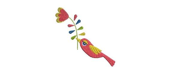 Der niedliche Vogel mit Blume Nähmaschine Stickmuster | Etsy