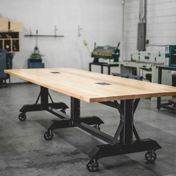 Conference Table Meeting Room Table CoWorking Table Etsy - Rolling conference table