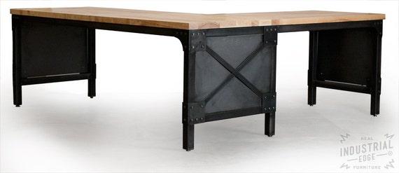 Office Desk Custom L Shaped Ash Top Desk Wood Steel Desk Etsy - L shaped conference table