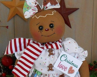 """Christmas Gingerbread Cookie Doll Pattern PDF E pattern #126 Digital Primitive Raggedy Cloth Sewing Holiday Craft 23"""" Tall w/ Printable Tags"""