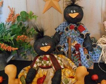 PDF E- Pattern Primitive Raggedy Crow Doll #96 Fall Harvest Cloth Sewing Craft Country Folk Art Seasonal Decor