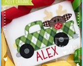 Zig Zag Old Truck With Reindeer Applique and Embroidery file for Embroidery machines AAEH