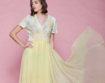 Satin and Ruffle Collar 70s Prairie Angelic 60s Prom Vintage Long Maxi Innocent Pastel Color Gown Full Length Pink Eyelet Princess Dress