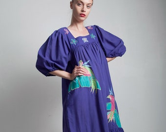 Ramona Rull bubble sleeves muumuu cotton tent dress vintage purple toucan applique ONE SIZE S M L small medium large
