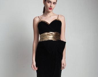 LBD little black dress vintage 80s velvet gold party cocktail eyelash cummerbund big bow split skirt SMALL S