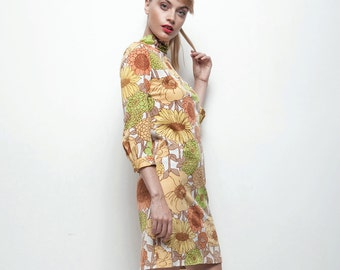 vintage 60s floral mod Twiggy a-line dress yellow green floral print XS S extra small / small