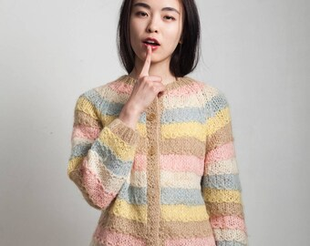 vintage 60s cardigan sweater multi color stripe pastel wool mohair scallop knit ONE SIZE S M L small medium large