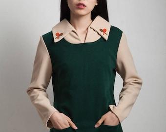 pinafore tunic top tennis applique hunter green beige long sleeves vintage 70s MEDIUM M
