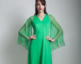 vintage 70s green midi empire dress sheer angel sleeves polyester knit SMALL MEDIUM S M