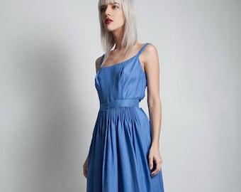 vintage 60s Nina Ricci Mademoiselle Ricci dress blue gathered accordion pleated waist scoop back sash SMALL MEDIUM S M
