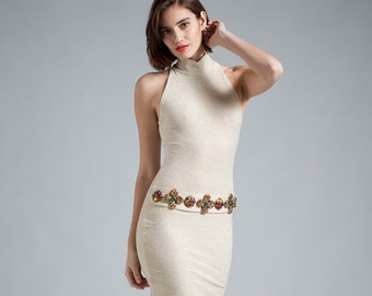 9c56a4d29278b4 vintage 90s bodycon dress gold lurex open shoulder high collar jewel belt  SMALL S