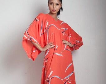 flowy kimono maxi dress red dragon fly batik print cover up SMALL MEDIUM S M