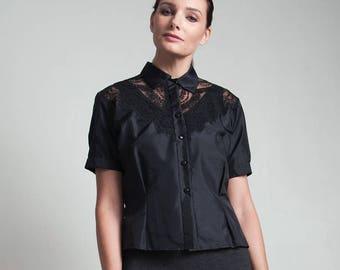 50s vintage black lace bib top blouse short sleeves MEDIUM LARGE M L