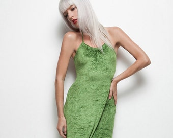 green halter maxi dress stretchy velvet open back body con vintage 70s XS S EXTRA SMALL / small