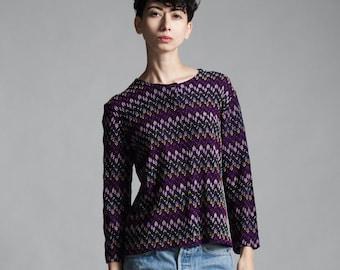 purple knit top cardigan sweater textured zigzag long sleeves vintage 70s MEDIUM M