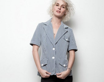 striped jacket top short sleeves white navy micro stripes vintage 70s M L MEDIUM LARGE