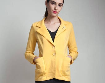 vintage 70s yellow blazer jacket casual stretchy knit patch pockets ice cream cone kitschy SMALL S