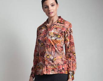 70s vintage photo print top shirt brown abstract long sleeves polyester knit MEDIUM M