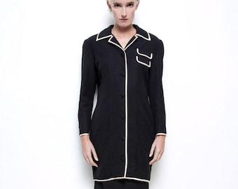 Fendi skirt suit gabardine vintage 80s power suit wool black white piping trims duster long jacket coat 44 M MEDIUM
