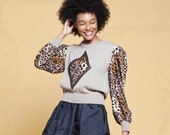 knit top sweater top animal print long sleeves crew neck brown vintage 80s ONE SIZE S M L