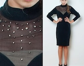 Vintage 80s Bodycon Black Dress Party Turtle Neck Illusion Lace Rhinestones Holiday L LARGE (40 quot Bust)