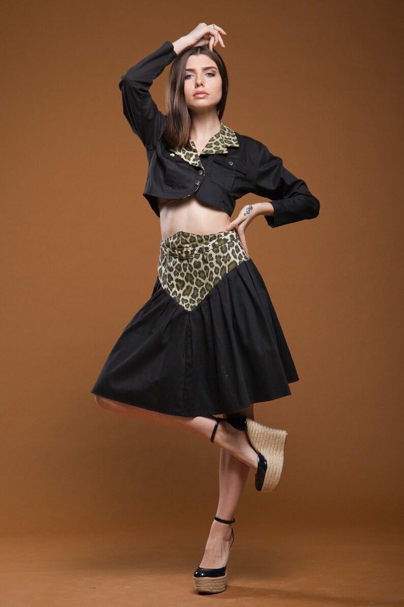 911b7bfecbb35f Crop top mini skirt set midriff leopard animal print black