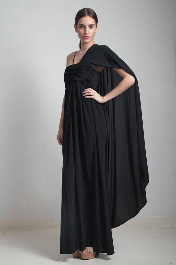 70s Vintage Black Maxi Grecian Goddess Draped Gathered Knit Etsy