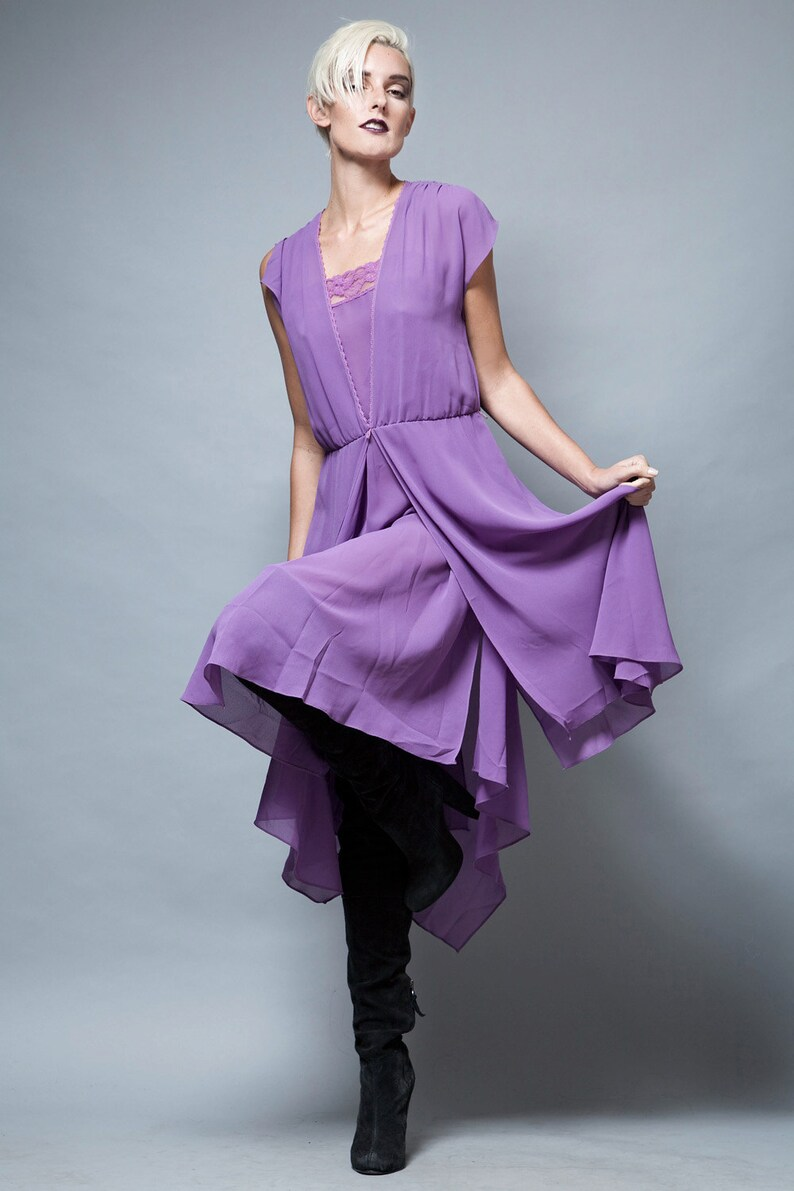 9acb5b35564 Sheer dress purple camisole dress lace layer midi flowy