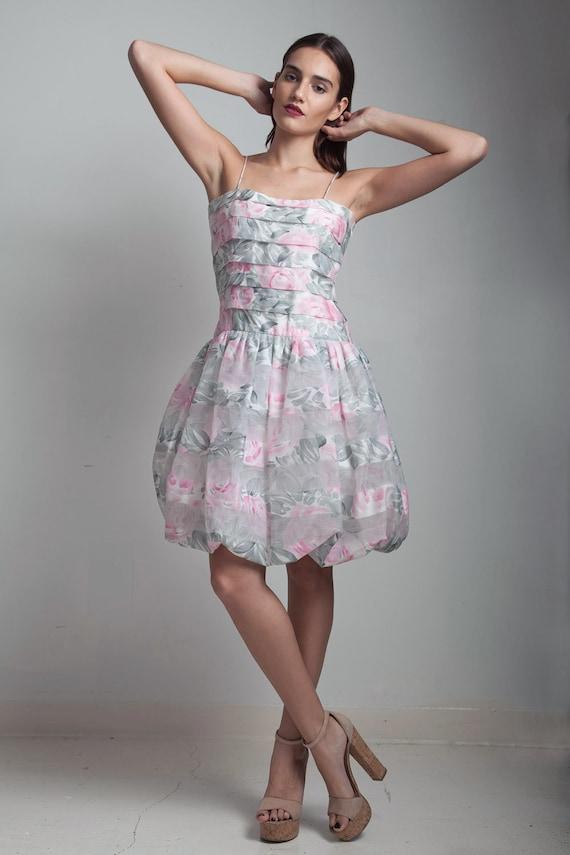 party dress balloon pink floral rose shoulder stra