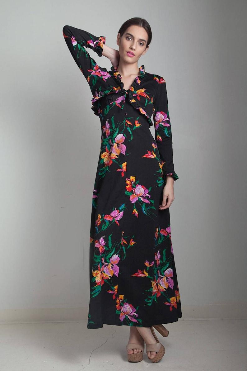 c9d4568d878 Maxi dress bolero top set vintage 70s black floral ruffle long