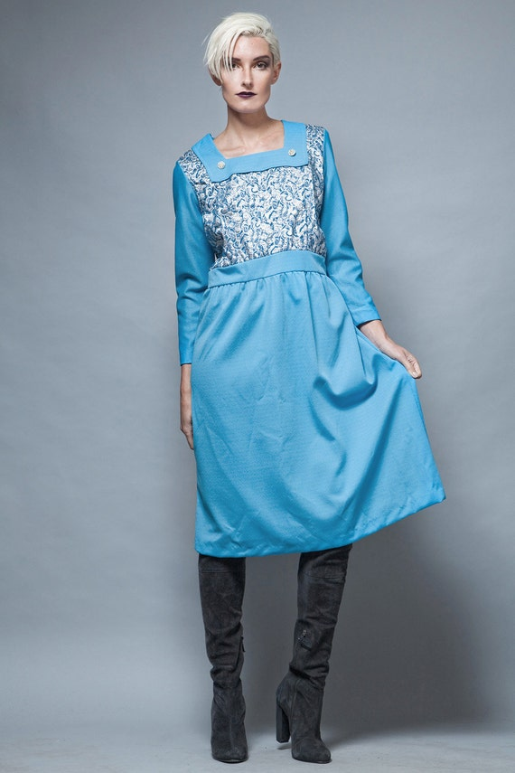 plus size vintage, evening dress blue, long sleeve