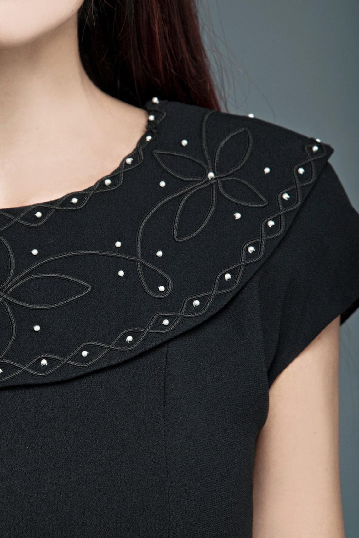 Vintage 90s LBD mini little black dress wide collar floral