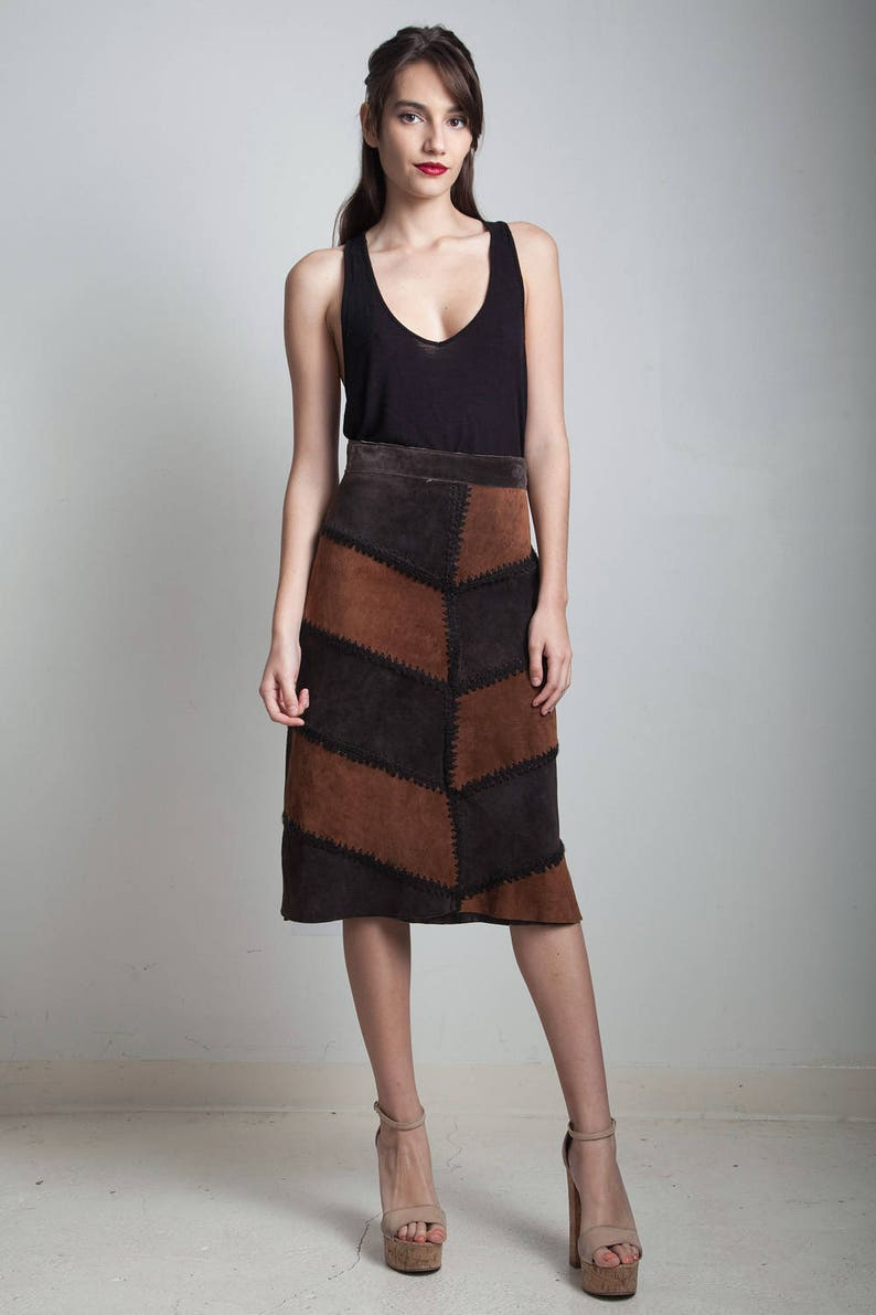 5089982e93ba5 patchwork leather skirt brown suede knee length a-line vintage 70s MEDIUM M