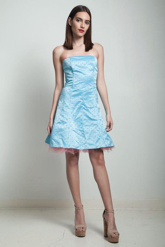 Vintage 80er Jahre Gunne Sax Partei Kleid trägerlos blau rosa | Etsy