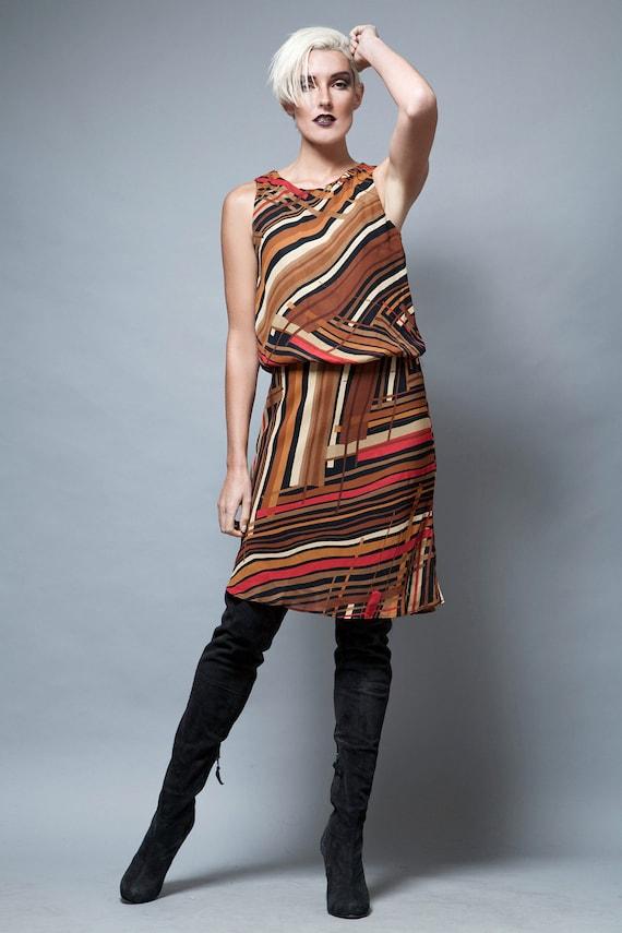 sleeveless dress, striped dress, vintage dress bro