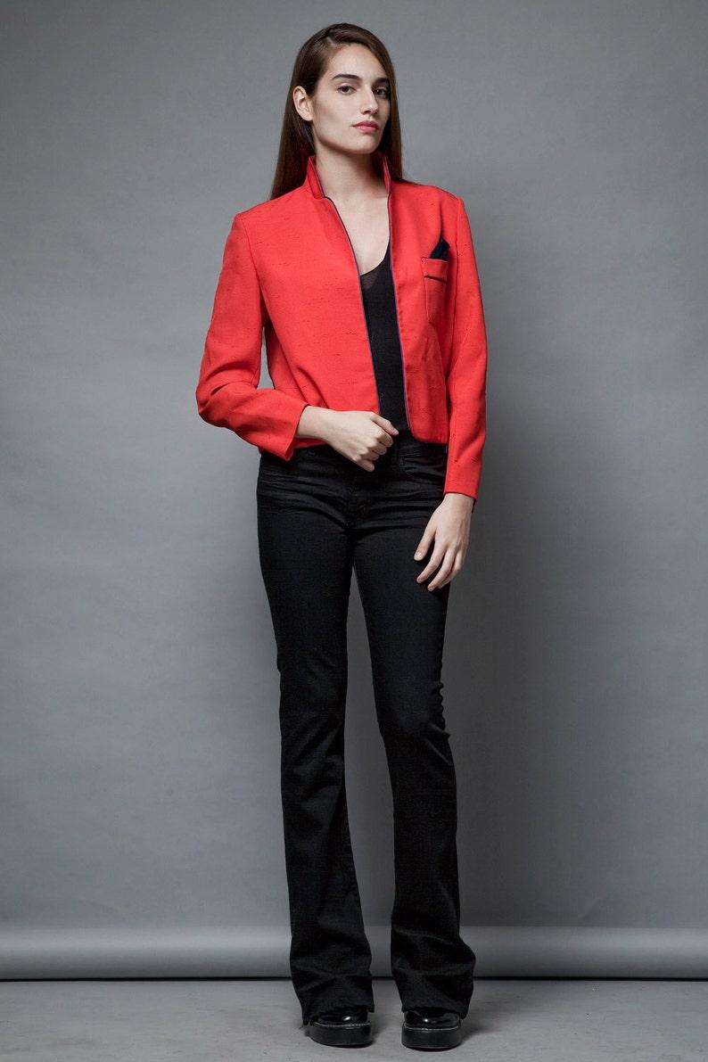 vintage 80s red blazer jacket polka dot pocket square navy open front M L MEDIUM LARGE