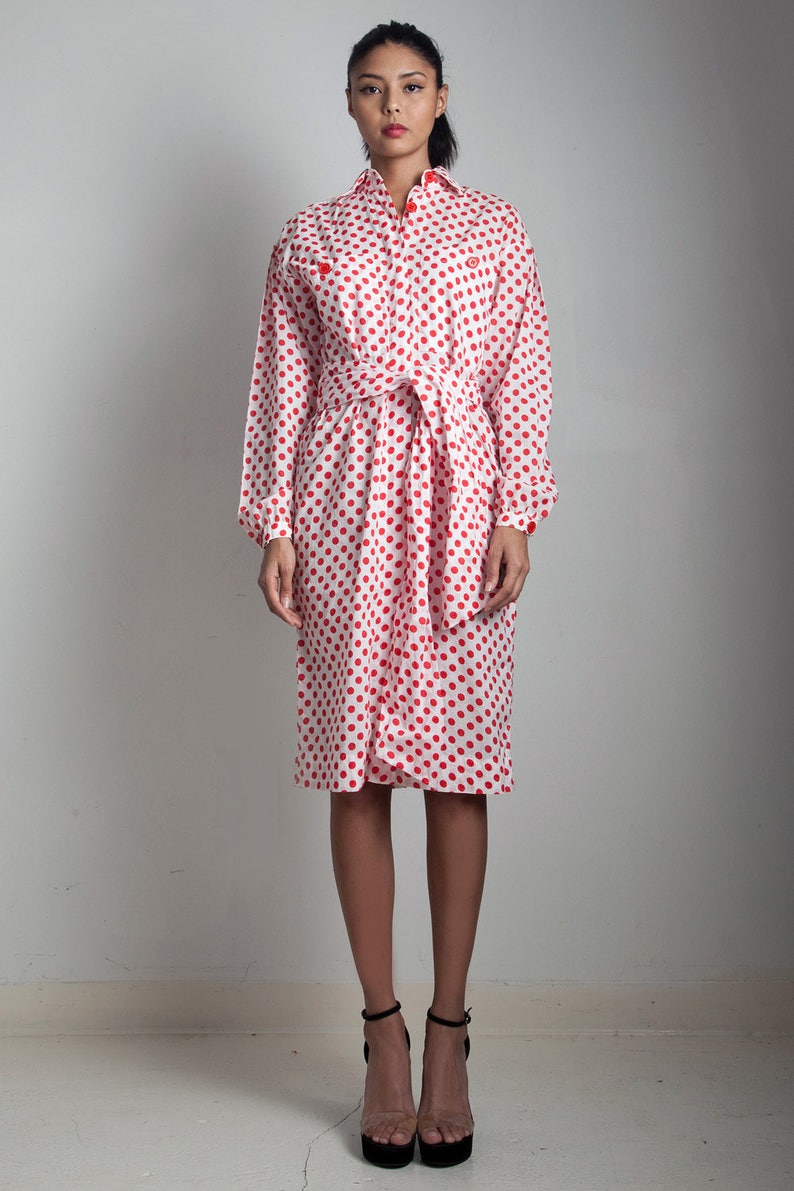 90ff31ef293 Vintage 70s polka dot shirt dress belted cotton red white long