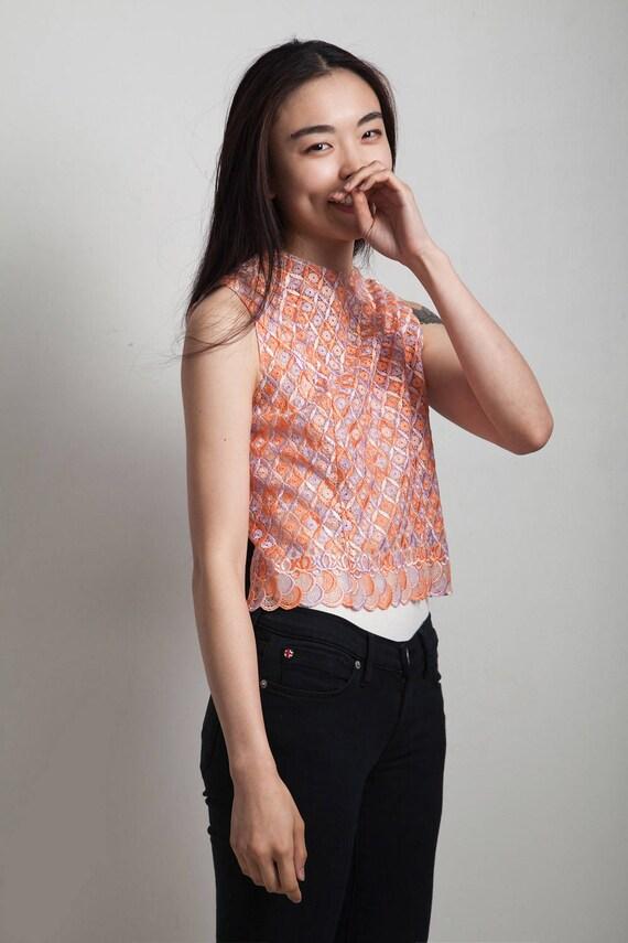 vintage 60s sleeveless lace top purple orange EXT… - image 3