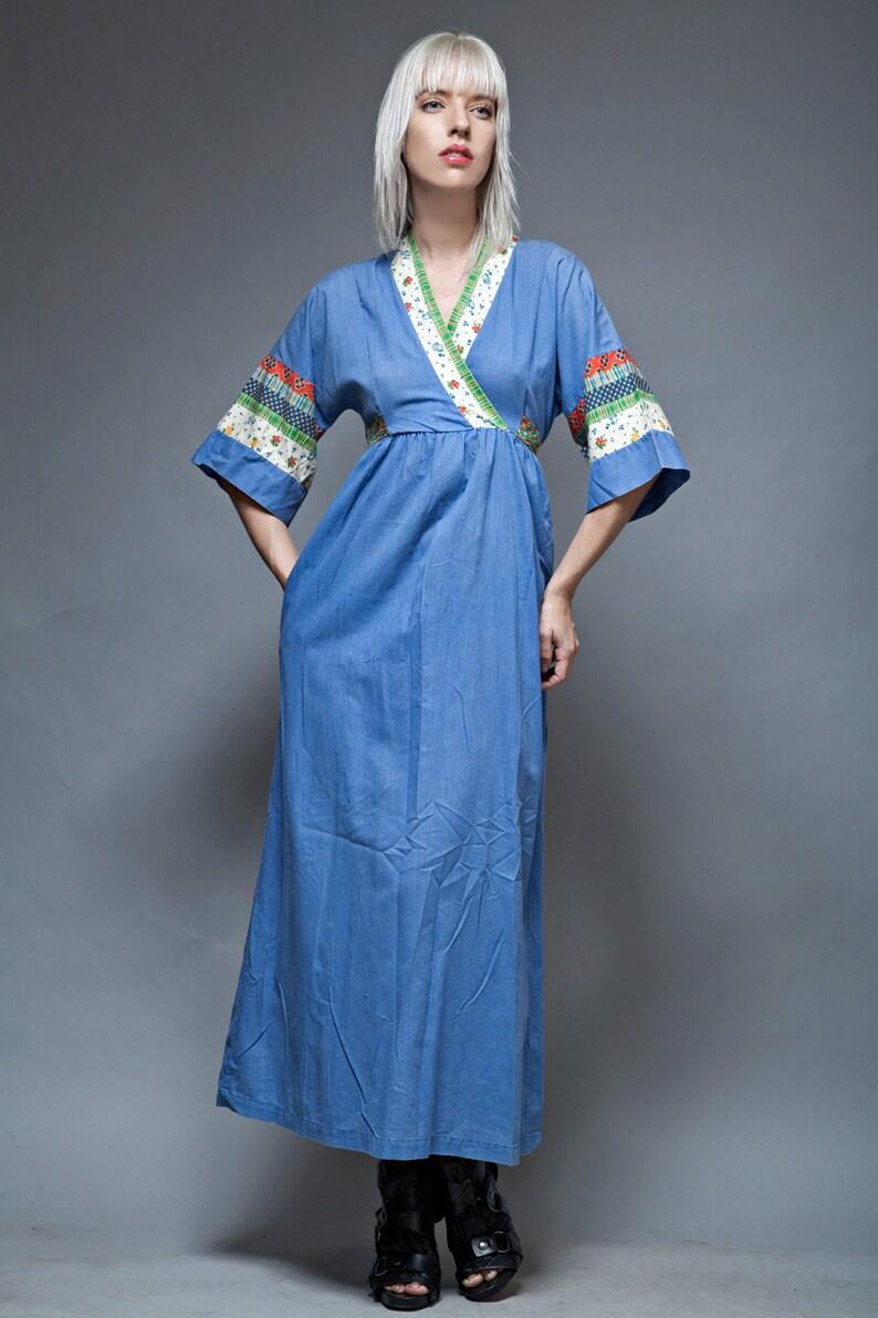 1276189566a Kimono dress maxi vintage 70 blue chambray cotton patchwork